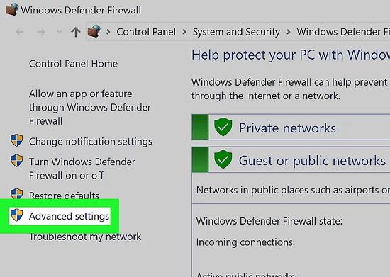 advanced setting windows firewall