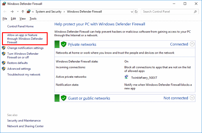 chọn allow an app or feature-through windows defender firewall