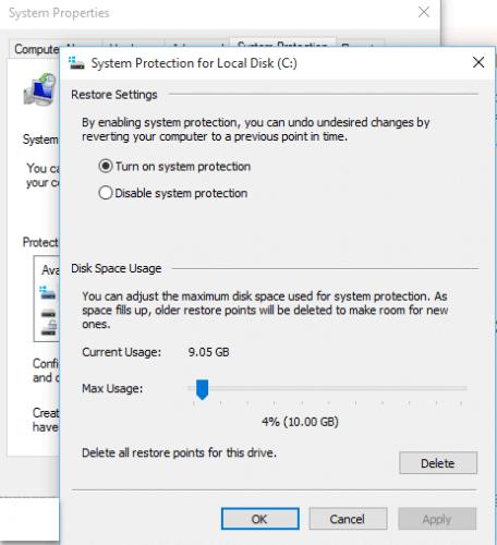 cache backup windows 10