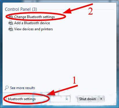 gõ bluetooth setting vào thanh tìm kiếm