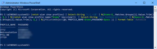 hiện thị tất cả pass wifi bằng Windows Powershell