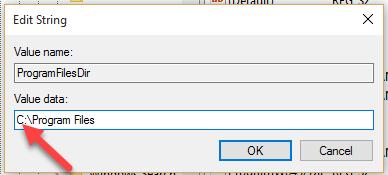 sửa thư mục cài đặt mặc định trên windows